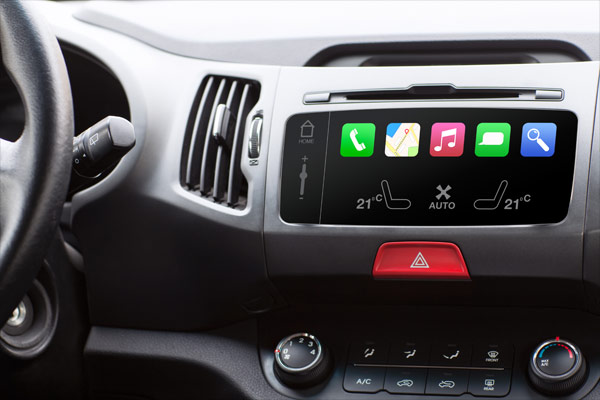 automotive dashboard with infotainment display
