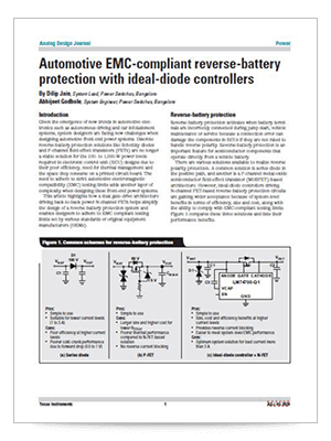 Automotive EMC-compliant reverse-battery protection with ideal-diode controllers (英語)