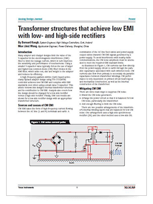 Transformer structures that achieve low EMI with low- and high-side rectifiers (英語)