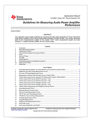 Guidelines for Measuring Audio Power Amplifier Performance (英語)