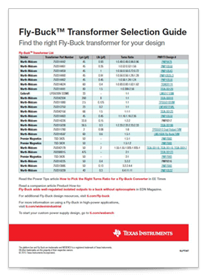 Fly-Buck™ transformer selection guide(英語)