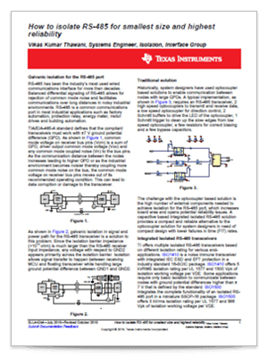 『How to isolate RS-485 for smalles size and highest reliability』(英語)PDF の表紙