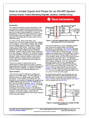 『How to isolate signal and power for an RS-485 system』(英語)PDF の表紙