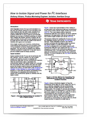 『How to isolate signal and power for I2C interfaces』(英語)PDF の表紙