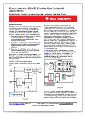『Robust isolated RS-485 enables new industrial applications』(英語)PDF の表紙