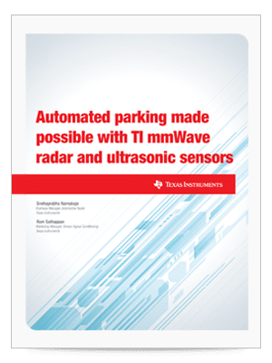 『Automated parking made possible with TI mmWave radar and ultrasonic sensors』 (英語) ホワイト・ペーパーの表紙