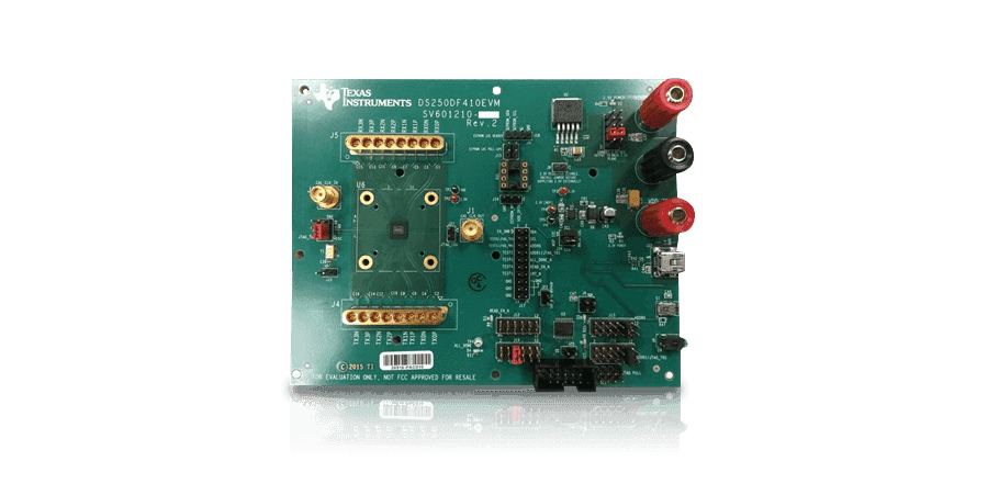 25 Gbps multi-rate 4-channel DS250DF410 retimer evaluation module