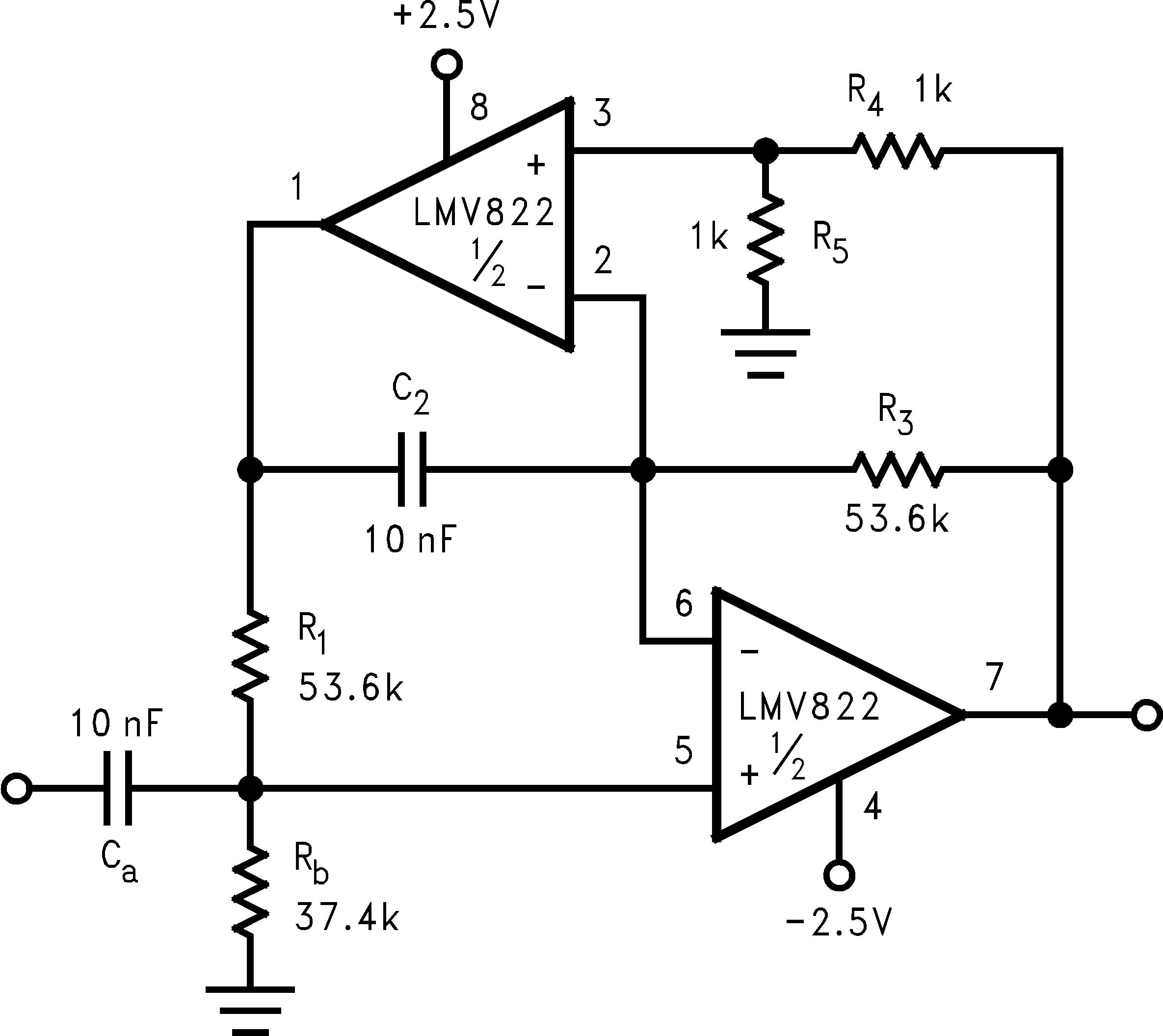 Lmv821 N Active Band Pass Filter Circuit Diagram Dual Amplifier Low Lmv822 Q1 Lmv824