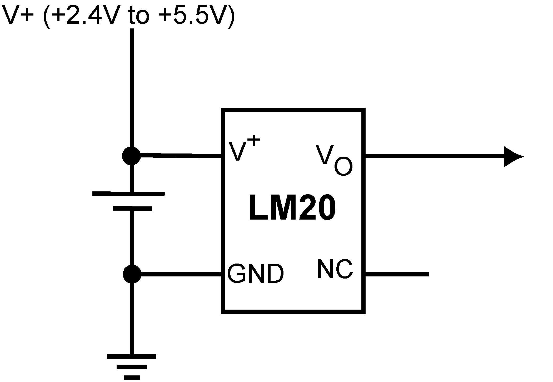 Lm20 Temperature Sensor Circuit Schematic Simplified