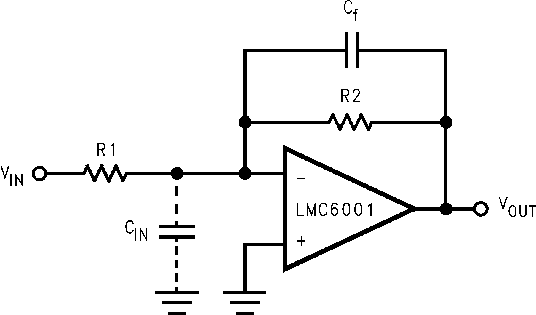 Lmc6001 Amplifier Circuit With Common Mode Signal Input Amplifiercircuit 1188705