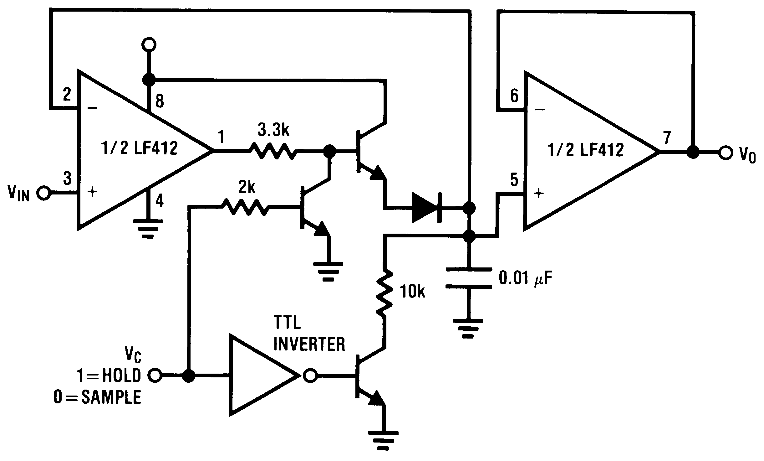 Lf412 N Single Supply Op Amp Design Sample And Hold