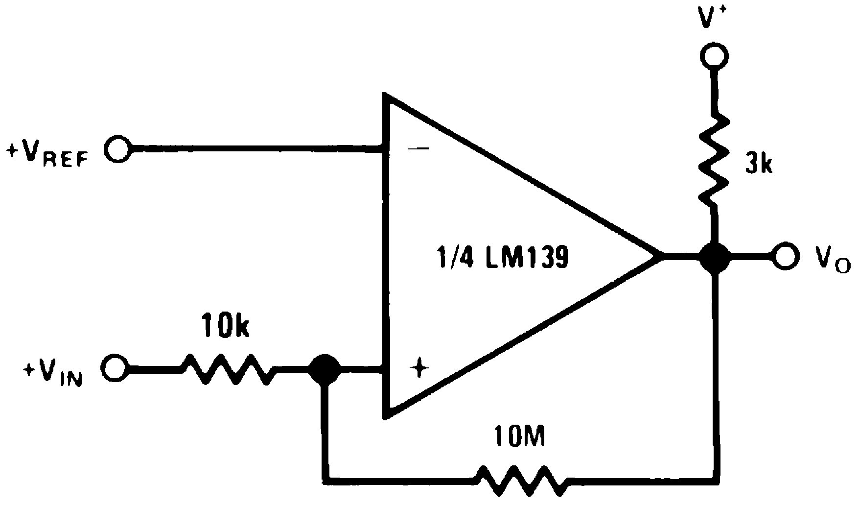 Lm239 N 1 Bit Comparator Block Diagram Non Inverting With Hysteresis V 15 Vdc