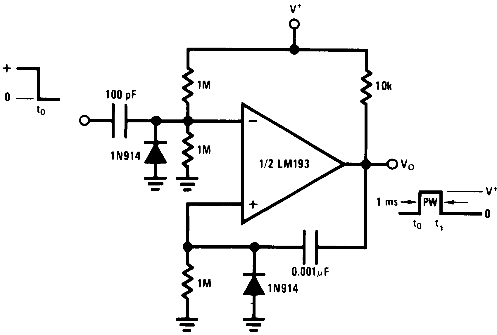 Lm393 N Often Called A One Shot Multivibrator Is Pulse Generating Circuit Lm193 Lm2903 Lm293 00570922 Figure 32