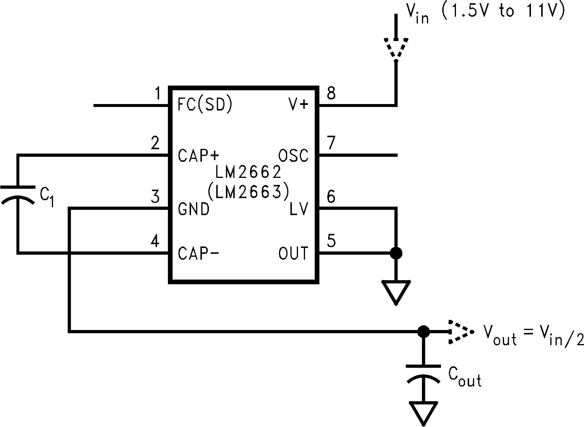 Lm2663 If The Voltage Goes Into Pin Three Then Circuit Becomes A Non Splitting Vin In Half