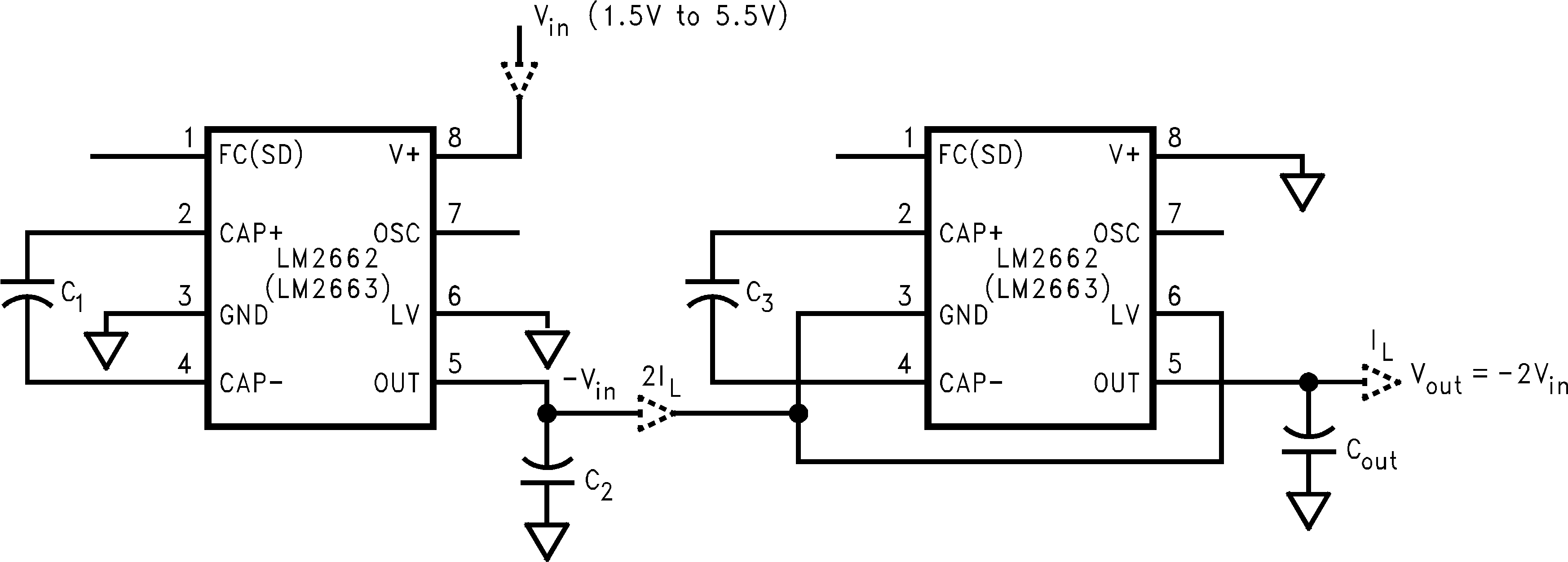 Lm2663 If The Voltage Goes Into Pin Three Then Circuit Becomes A Non Increasing Output By Cascading Devices