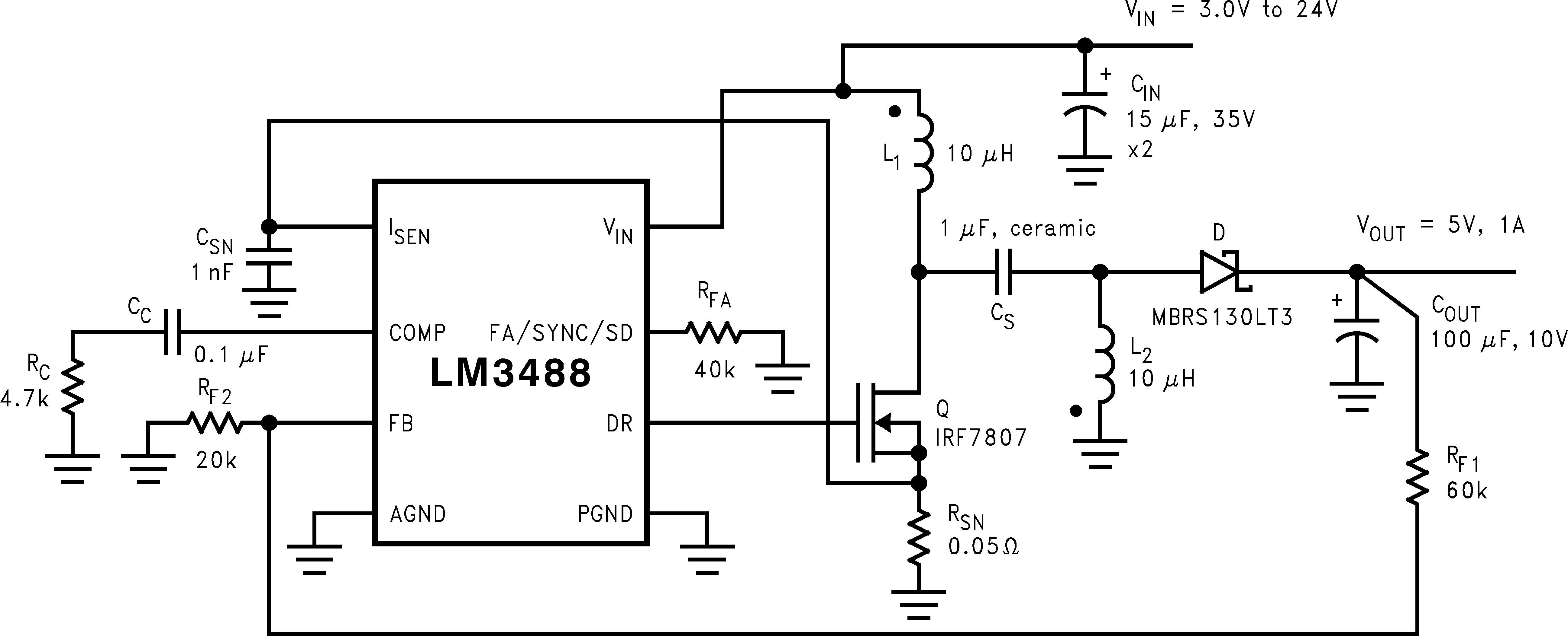 Dc Buck Converter Schematic Auto Electrical Wiring Diagram Ncp1034 To Circuit And Datasheet Step Down Regulator Lm3488q