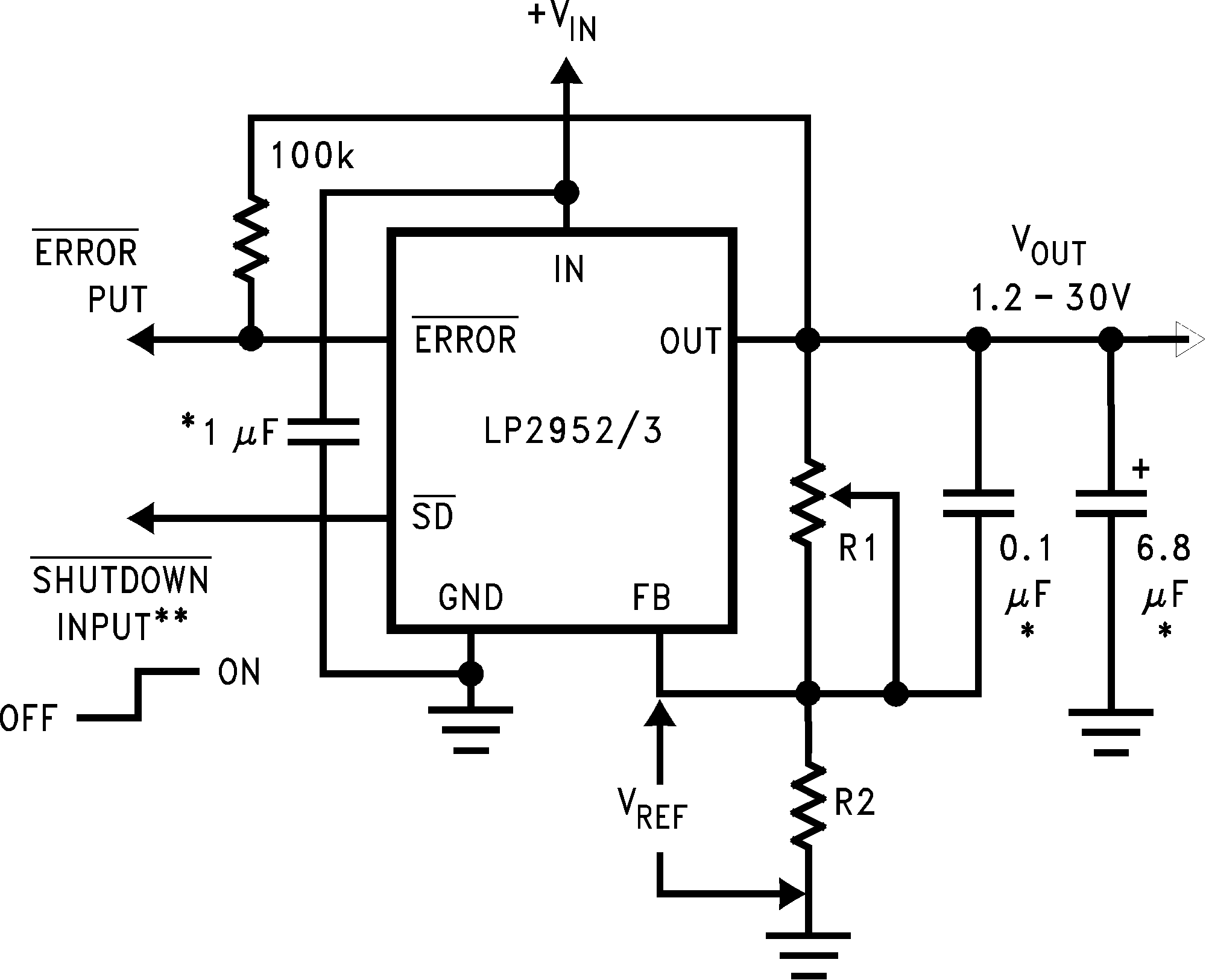 Lp2953 If The Voltage Goes Into Pin Three Then Circuit Becomes A Non Lp2952 N Lp2952a Lp2953a 01112709