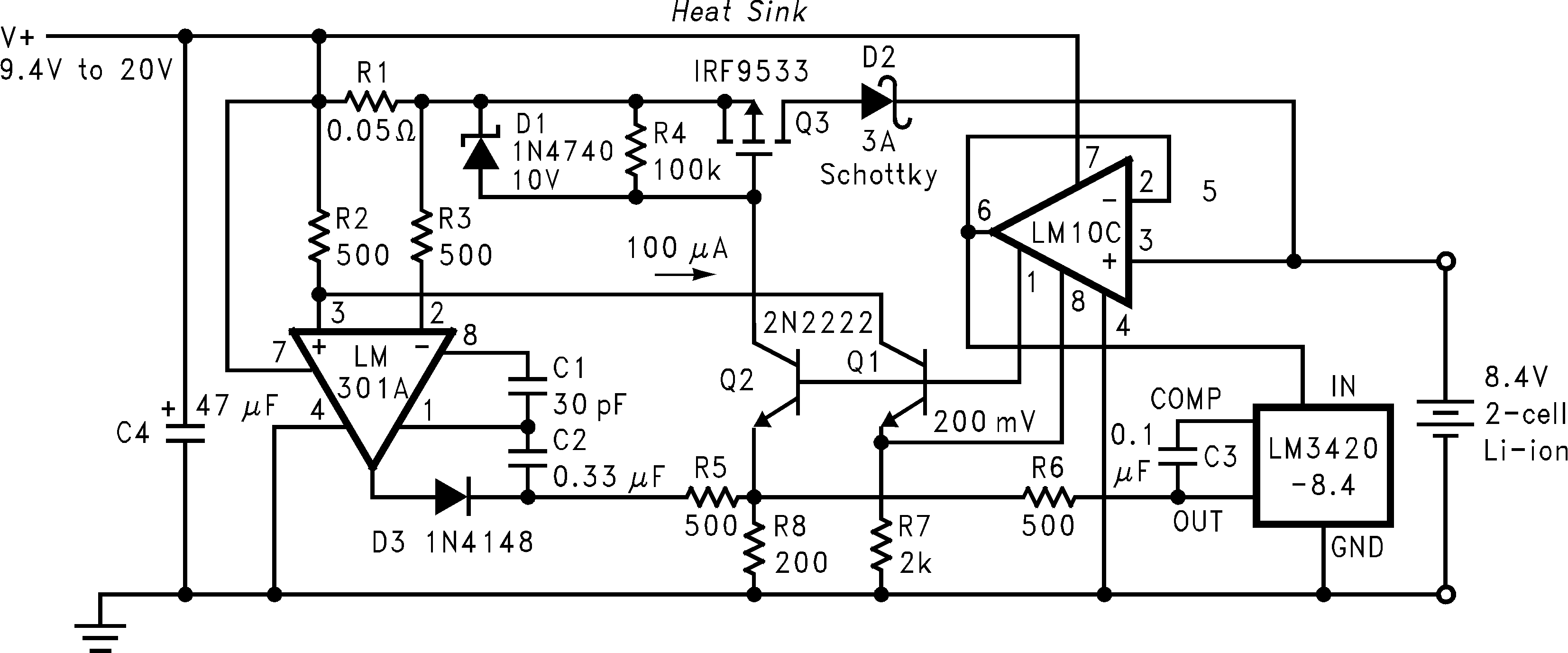 Lm3420 Simple Lithium Ion Charger 2 Cell Circuit Diagram Low Dropout Constant Current Voltage