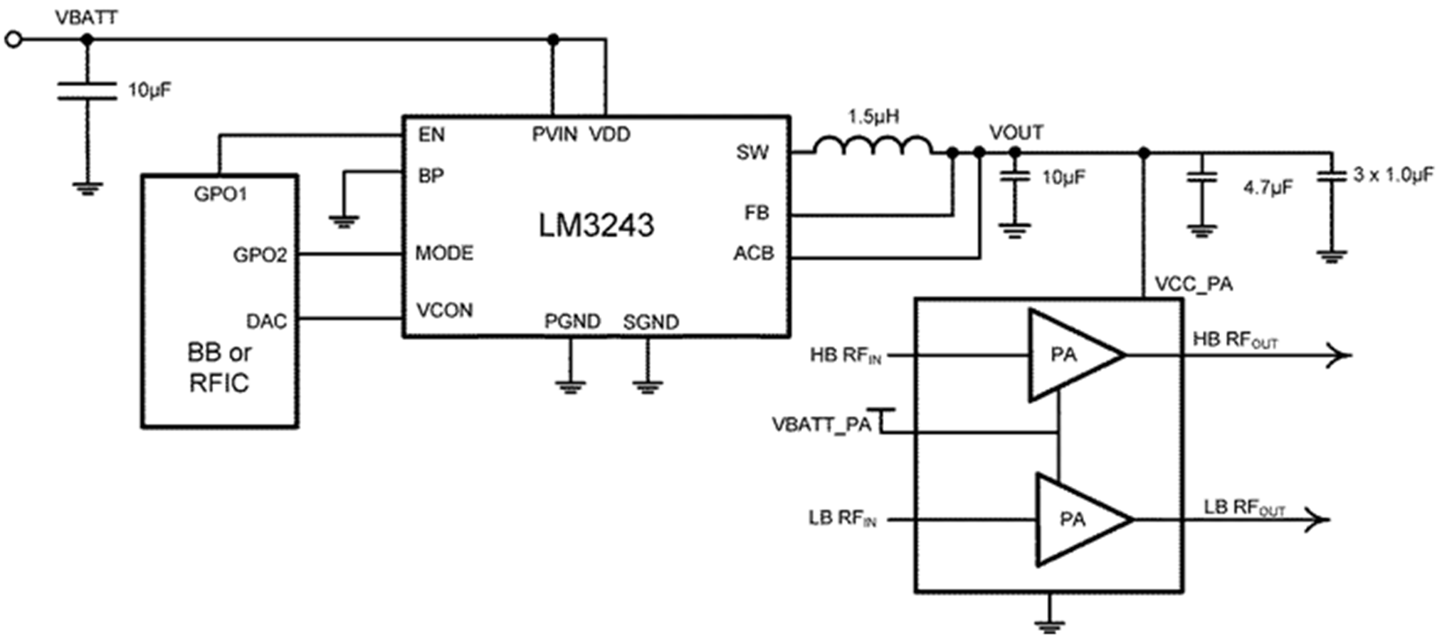 Lm3243 Figure 1 First Rf Amplifier Module A3 Schematic Diagram Lm3243rf Noi136 27 Simplified Evaluation Board